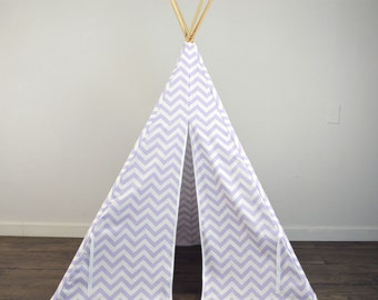 Kids Play Teepee Tent in Wisteria Lavender Purple and White Chevron Zig Zag Tipi print