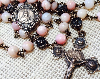 St. Therese of Lisieux Rose Rosary, Wire wrapped, Bronze, Heirloom, Peruvian Pink Opal 8mm, Catholic Jewelry, Christian Jewelry