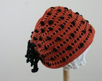 40's Vintage Crochet Winter Hat with Hole to Accomodate Ponytail Coral and Black Stripe