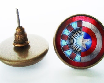 Iron Man/Captain America Earrings (Silver/Bronze)