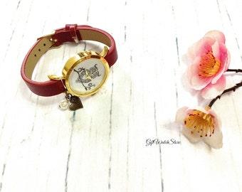 "Retro Leather Watch, Leather Wrap Watch, Leather Bracelet Watch, Wrist Watch, Leather Owl Watch ""heart"" charm"