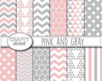 Pink and Gray Digital Paper, Scrapbooking, INSTANT DOWNLOAD, Scrapbook Digital, , Gray Pink patterns, Grey Pink Printables, Baby pink paper