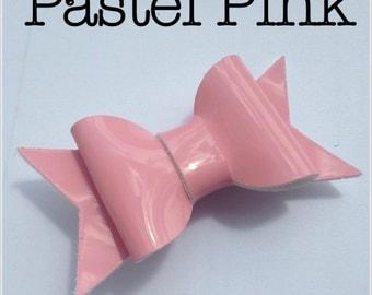Pale pastel pink patent leatherette faux leather A4