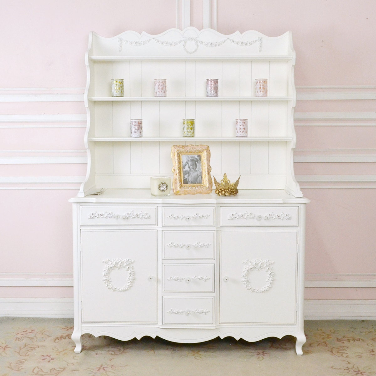 shabby cottage chic china cabinet white hutch roses romantic. Black Bedroom Furniture Sets. Home Design Ideas