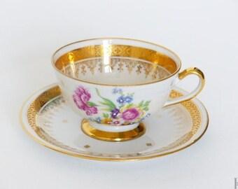 Limoges china teacup. Teacup with double gilding. Vintage porcelain signed Limoges France.