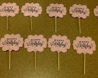 Happy Birthday Pink Cupcake Toppers