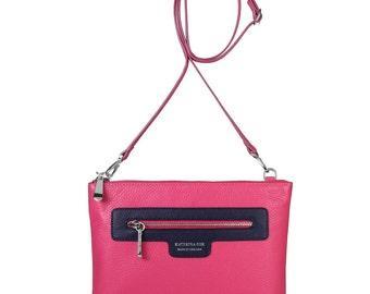 Leather Crossbody Bag, Fuchsia Leather Shoulder Bag, Women's Leather Cross body Bag, Leather bag KF-205