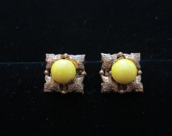 Miriam Haskell Yellow and Goldtone earrings