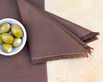 Chocolate Fringed Napkin – Hemp / Organic Cotton
