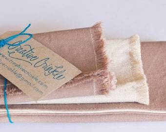 Eco-friendly Table Linen - Taupe Hemp and Organic Cotton Placemat and Napkin Set