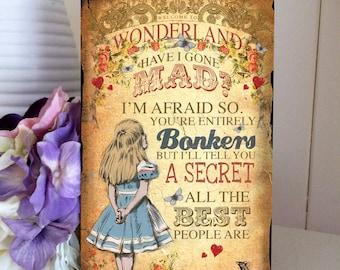 "Alice in Wonderland Decoration Mad Hatter Hanging Wooden Plaque Decoration Bonkers ""Welcome to Wonderland"""