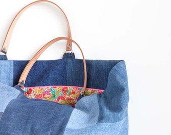 Big bag made of recycled denim for beach or shopping