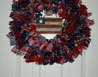 Memorial Day / July 4th Fabric Wreath
