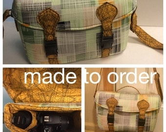 Camera bag, Camile camera bag, fabric camera bag, Swoon, made to order, padded camera bag, camera case, DSLR bag, custom camera bag