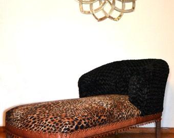 Microsuede Leopard Print, Faux Fur/Aligator Skin Chaise