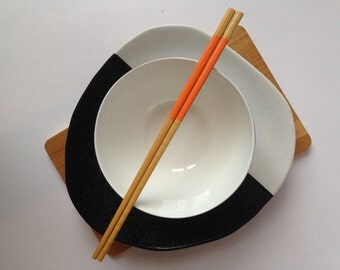 Partitioned Orange Handpainted Bamboo Chopsticks