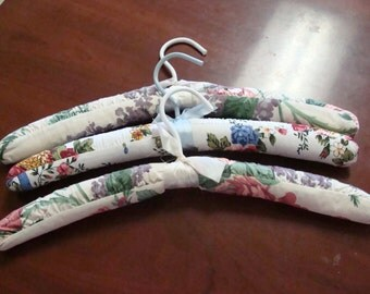 Three Shabby Chic Floral Padded Hangers