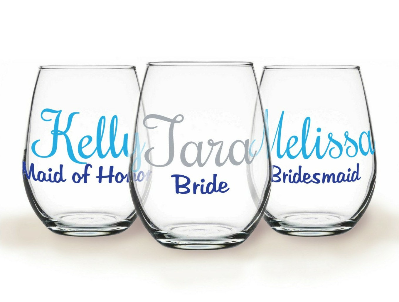 12 Personalized Stemless Wine Glasses For Bride Groom
