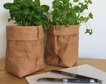 Washable Kraft Paper Storage Bag - Brown SMALL