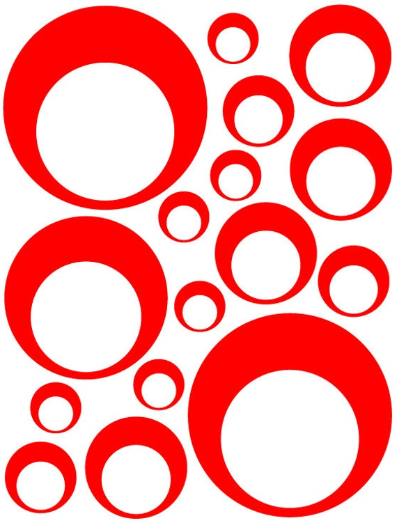 32 Red Vinyl Circle in a Circle Bubble Dots Bedroom Wall Decals Stickers Teen Kids Baby Dorm Room Removable Custom Easy to Install