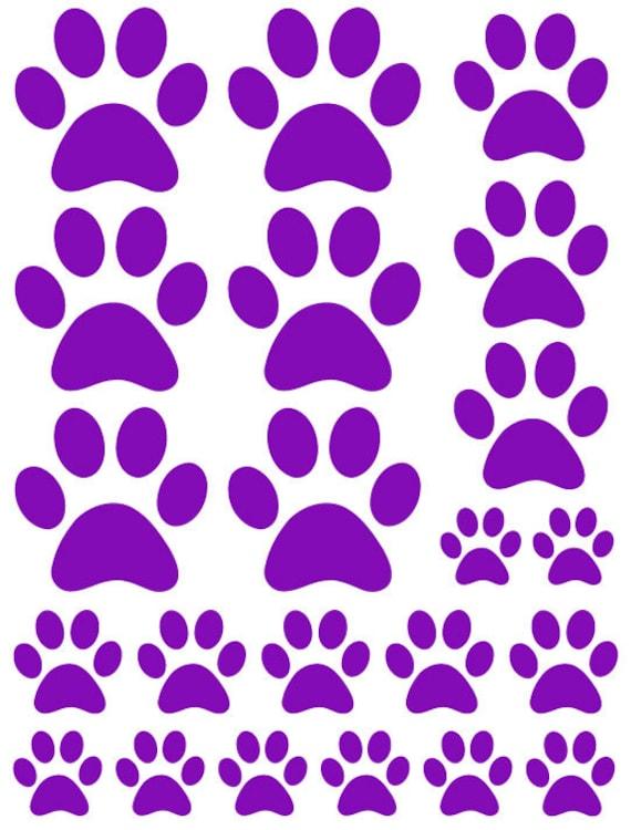 44 Dark Purple Paw Prints Vinyl Wall Decals Stickers Bedroom Teen Kids Baby Dorm Room Cat Dog Pet Removable Custom Easy to Install Wall Art