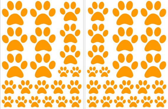 Orange Paw Print Shaped Vinyl Decals great for Teen, Kids, Baby, Nursery, Dorm Room Walls - Removable Custom Made - Super Easy to Install