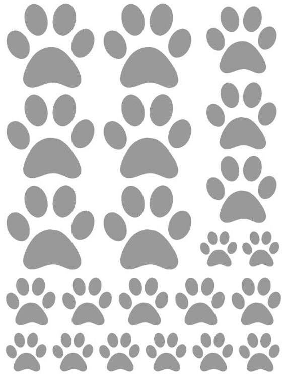 44 Satin Silver Paw Prints Vinyl Wall Decals Stickers Bedroom Teen Kids Baby Dorm Room Cat Dog Pet Removable Custom Easy to Install Wall Art