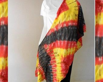 Black Yellow Orange Tie Dye Cotton Wrap Scarf Cotton Shawl (9)