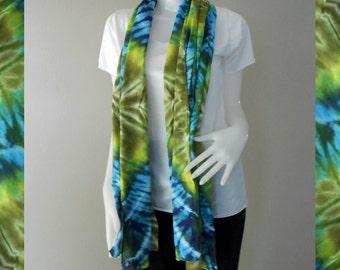 Green Blue Tie Dye Cotton Scarf, Wrap Shawl , Accessories Beach (26)