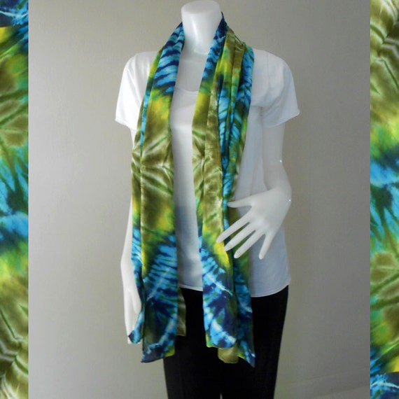 Green Blue Tie Dye Cotton Scarf, Wrap Shawl , Accessories Beach (26)