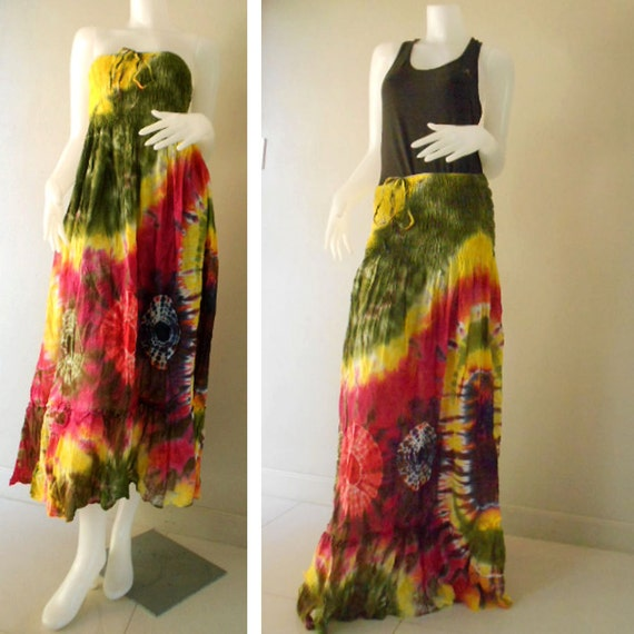 Plus size 2 in 1 Boho Hippie 100 % tie dye cotton smock tube dress maxi summer sundress comfy beach casual dress long skirt (108)