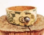 Lace Embossed Sage Green Leather Bracelet by Bill Cleaver