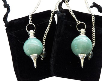 2 Large GREEN AVENTURINE Crystal Silver Mounted BALL Dowsing Pendulums, with 2 Pouches, Divination