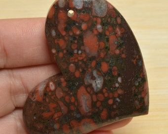 Natural Red Ocean Jasper heart  pendant bead  (#J772)