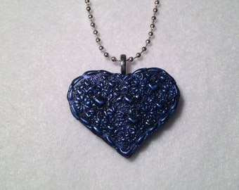 Blue Imprinted Polymer Clay Heart Pendant
