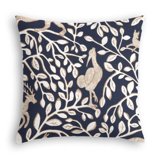 Navy Blue Throw Pillow. Animal Graphic Throw by DcoraPillows