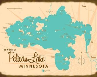 Pelican Lake, MN Map - Canvas Print