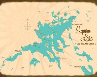 Squam Lake, NH Map - Canvas Print