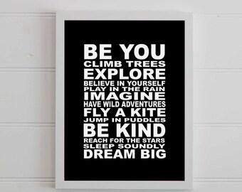 Boys Subway Art, Printable Art, Inspirational Quote, Boys bedroom, Wall quotes, Digital Prints, Nursery Black White, Wall Art Print