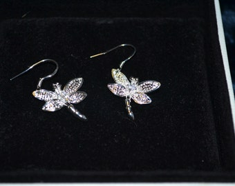 Silver dragonfly earings