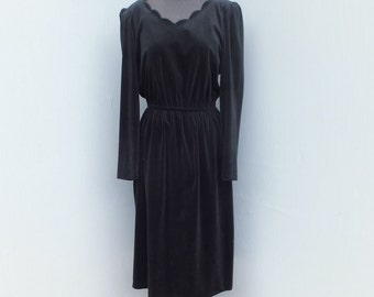 1980s Black Velour  Dress / Velour Dress by Cheekaberry, Padded Shoulders