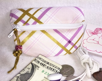 Lavender & Gold Coin Purse Small Zipper Pouch Change Purse Gift Card Credit Card Holder Woman's Small Wallet