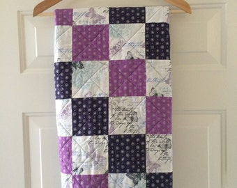 Blue and Purple Butterfly Baby Quilt with BONUS Pillowcase - SALE