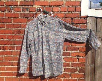 XL LL Bean Patterned Button Down
