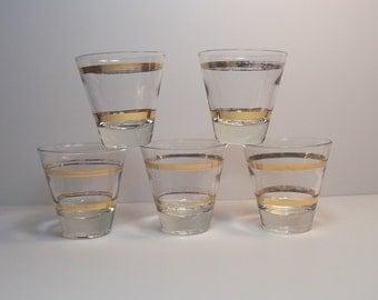 """5 Vintage Shot / Aperitif Glasses, 22k Gold Stripes Design, 2-3/4"""", ~ 2-3 oz."""