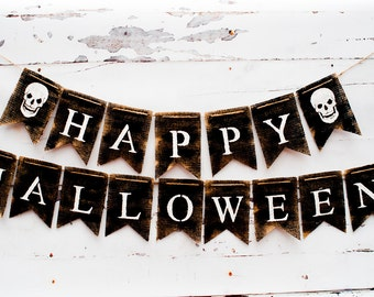 Happy Halloween, Happy Halloween Banner, Halloween Burlap Banner, Rustic Halloween Banner, B167