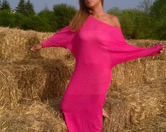 pink dress/long dress/dress with sleeve /dress knitting