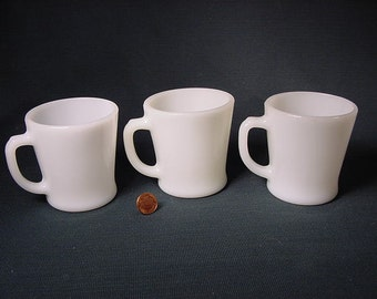 Vintage Old Collectible * Anchor Hocking * Coffee Cup Mug *  D Handle * Milk Glass * set of 3 Restaurant Style