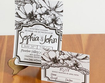 FREE SHIPPING!! Vintage-inspired Black and White Flower Wedding Invitations with R.S.V.P