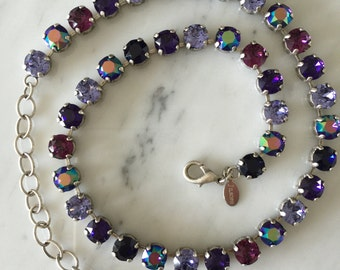 Swarovski Purple Crystal Necklace,  Purple Velvet Crystal Necklace, Swarovski Crystal Collar Necklace